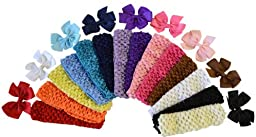Baby and Toddler Girls 23 Piece Miix and Match Simple Bow and Crochet Baby Headband Set