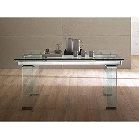 Tavolo allungabile metallo cromato e vetro 12mm Design Large
