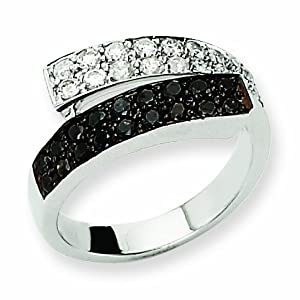 14K White Gold Black and White AA Diamond Ring