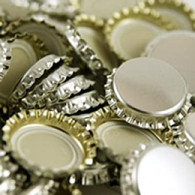 1 X Silver Colored Polished Beer Bottle Caps (approximately 144 caps)