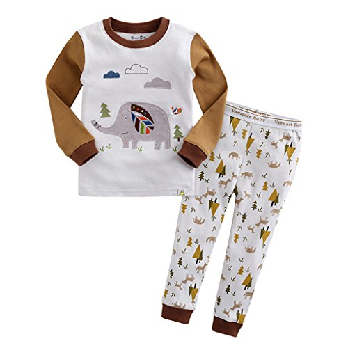 YISUMEI Children's Pajamas Thermal Underwear Elephant Tree White 2T (Footed Thermal Underwear compare prices)