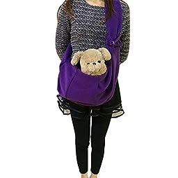 Evergreens Cotton Blend Pet Dogs Sling Carrier Bag (Purple)