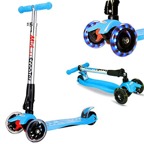 Rimable Adjustable and Foldable Maxi Scooter with LED Light up Wheels Color Blue
