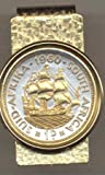 "Gorgeous 2-toned 24k Gold on Sterling Silver World Coin Hinged Money Clip – So. African penny ""Old Sailing ship"" (U.S.½ dollar size) Total clip size 1-1/8″ x 2″"