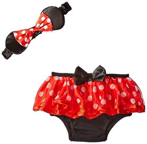 Disney Baby-Girls Newborn Minnie Headband Diaper Cover, Red, 6-12 Months
