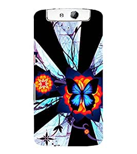 printtech Butterfly Waterfall Back Case Cover for Oppo N1