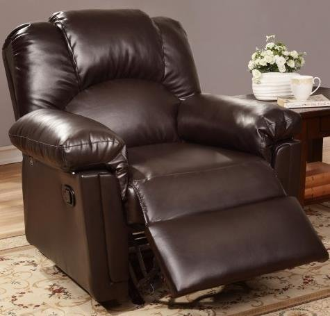 Bobkona Rocker Recliner in Espresso Bonded Leather by Poundex (Espresso Leather Recliner compare prices)