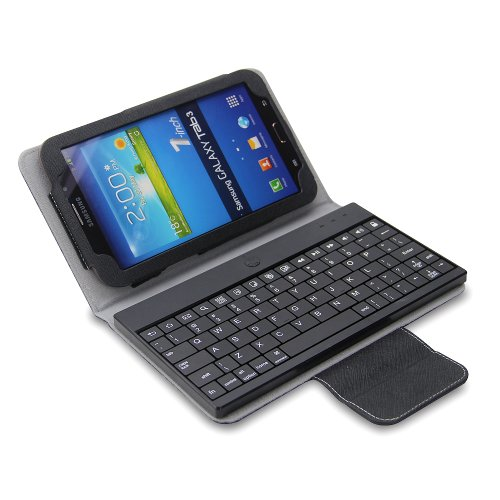 Newstyle Removable Wireless Bluetooth Keyboard Abs Plastic Laptop Stylish Keys And Protective Case For Samsung Galaxy Tab 3 7.0 Inch Tablet (Black)