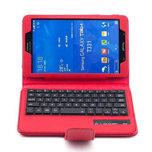 Supernight Ultra Thin Keyboard Case Cover Detachable Bluetooth Keyboard + Stand Leather Case For Samsung Galaxy Tab 4 8.0-Inch Tablet Sm-T330 / Sm-T335 - Red Color