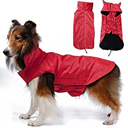 Imported Waterproof Pet Dog Waistcoat Jacket Fleece Lined Raincoat Clothes XXXL Red