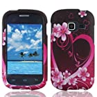 Bundle Accessory for Straight Talk Net 10 Samsung Galaxy Centura S738C - Artisan Designer Protective Hard Case Snap On Cover + SportDroid Transparent/Clear Decal (Lovely Heart and Flower)