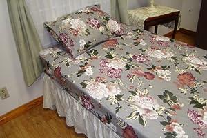 Textiles Plus 100-Percent Cotton 135 GSM T-Shirt Knit Jersey Bedding Sheet Set, Full, Elegant Floral Seeded