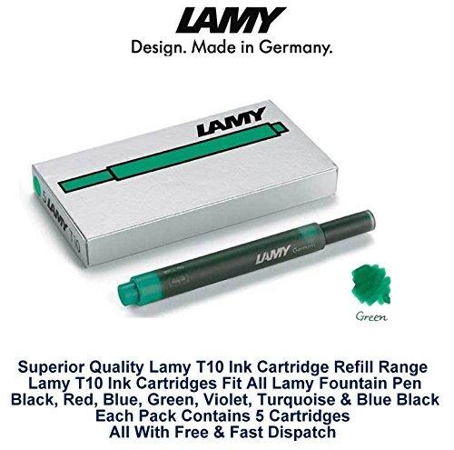 Lamy T10 Lot de cartouches d'encre pour stylo-plume Vert de rechange pour toutes les recharges Lamy Fountian à 9,53 mm 20-100 Lot de cartouches d'encre)