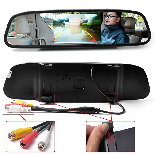 "O'Plaza® 4.3"" Car Vehicle Rearview Mirror Monitor For Dvd/Vcr/Car Reverse Camera(Dc 12V / Pal / Ntsc)"