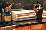 Modern White Finish and Brushed Stainless Steel Metal Rolltop 2 Loaf Bread Box / Storage Bin