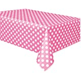 Unique Industries PLTBLCVR-50265 Plastic Tablecover, 54 by 108-Inch, Hot Pink Decorative Dots