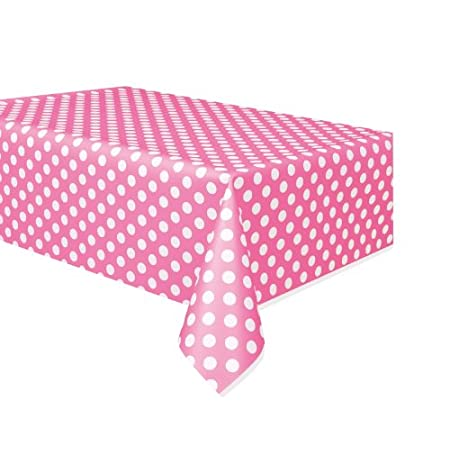 Unique Industries hot pink decorative dots Plastic Tablecover decorates your gift or food table. It would also look great with other coordinating polka dot or solid color items: crepe streamers balloons beverage napkins plates hats cutlery straws and...