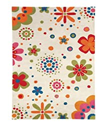 Area Rug, Beige Kids Daisy Flowers Soft Wool Carpet, 7\' 6\