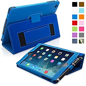 Snugg Apple iPad Mini & iPad Mini 2 Retina Leather Case in Electric Blue - Flip Stand Cover with Elastic Hand Strap, Stylus Loop and Premium Nubuck Fibre Interior - With Automatic Sleep & Wake