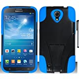 For Samsung Galaxy Mega 6.3 Double Layer Hybrid Stand Cover Case with ApexGears Stylus Pen (Black Blue)