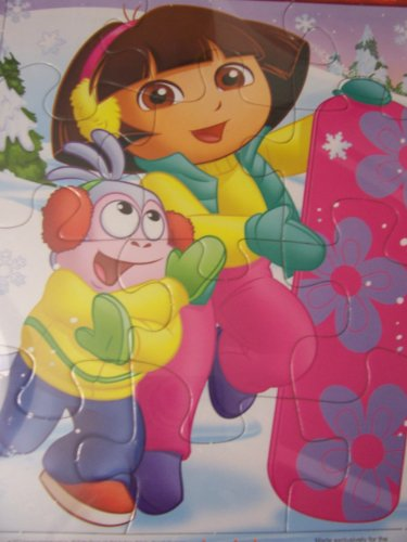Dora the Explorer Tray Puzzle ~ Holiday Edition (Dora and Boots Snowboarding Adventures; 12 Pieces) - 1