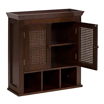 Elegant Home Fashions Wall Cabinet with Cane-Paneled Doors and Storage Cubbies, Espresso