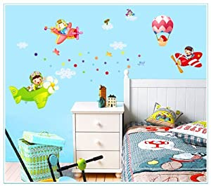 Design Children Flying Dream Planes Balloon in Sky Wall Sticker Super for Boys Room Wall Decals by New Design