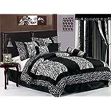 7-piece Black White Zebra Giraffe Micro Fur Comforter Set Full