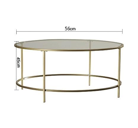 SFBZ Pequeña tabla lateral Hierro Vidrio templado Moderno Simple Pequeña mesa redonda Mesa de salón Pequeña mesa de centro Mesa de centro mesas auxiliares