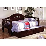 Charlotte Dark Cherry Finish Daybed with Trundle