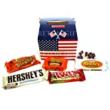 All American Favourites Candy Treat Box - Reese's Pieces, Big Cup, White Cup, Hersey's Cookies 'n' Creme Bar, Twix Peanut Butter and Tootsie Rolls - Great Present - By Moreton Gifts