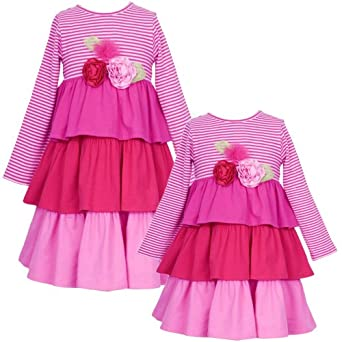 Size-2T RRE-49721H PINK RED KNIT STRIPE and SOLID TRIPLE TIER ROLLED ROSETTE Special Occasion Girl Party Dress,H749721 Rare Editions GIRLS