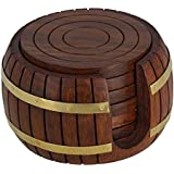 Indiabigshop Father's Day Gift Wooden Tea Coaster, 6 Coaster With Barrel Holder, Unique For Kitchen, Table, Barware.