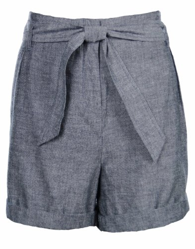 Eileen Fisher Chambray Cotton Rolled Hem Shorts X-Large Blue [Apparel]