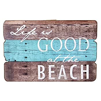 NIKKY HOME Life Is Good At The Beach Wooden Wall Decorative Sign 7.87 x 0.63 x 11.87 Inches
