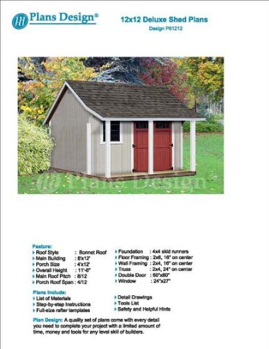12 39 x 12 39 storage shed with porch plans for backyard for Free shed design software with materials list