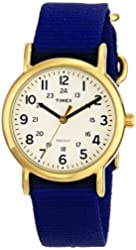 Timex Unisex T2P4759J Weekender Gold-Tone Watch with Blue Nylon Band