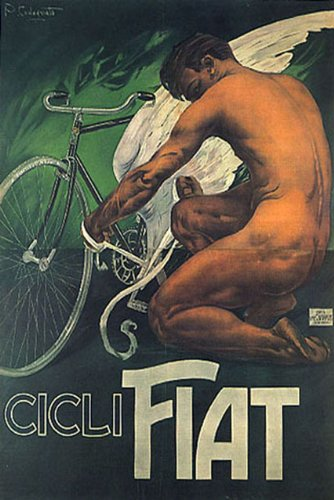 NUDE MAN ANGEL BICYCLE CICLI FIAT BIKE ITALIA ITALY ITALIAN VINTAGE POSTER CANVAS REPRO