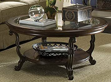 Ambrosia Round Coffee Table in Terra-Sienna Finish