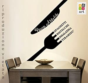 Adesivo murale wall sticker menu buon appetito misure for Stickers cucina