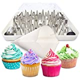 BakeLux Cake Decorating Tips Set - 56 Piece Professional Kit With 18-Inch Reusable Cotton Pastry Bag For Icing Piping, 2 Flower Nails, Coupler, Storage Box, Duyas Reposteria, Baking Tools Supplies