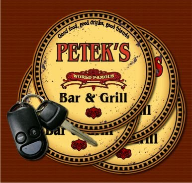 PETEK'S World Famous Bar & Grill Coasters Set of 4 pavone family crest square coasters coat of arms coasters set of 4