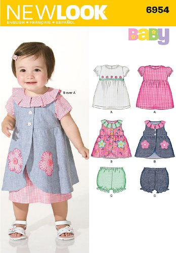 New Look Sewing Pattern 6954 Babies Dresses, Size A (Nb-S-M-L)