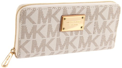 Michael Michael Kors Mk Logo Zip Around Continental,Vanilla,One Size front-958630