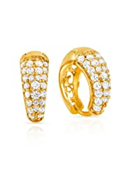 Mahi CZ Collection White Gold Plated CZ Stones Stud Earrings For Women-ER1108485G
