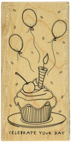 Hampton Art Outline Design Sketchy Cupcake Rubber Stamp