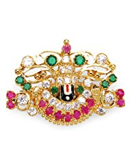 Johareez: 8.20 Grams White Cubic Zirconia, Red Glass & Green Glass White, Black & Red Enamel Gold Plated Brass...