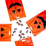 Jack-O-Lantern Orange Pumpkin Face Halloween Trick or Treat Plastic Candy Bags for Party Favors, Snacks, Decoration, Children Arts and Crafts, Event Supplies (50 Bags) by Super Z Outlet