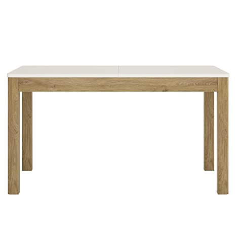 Furniture To Go Gobi Extending Dining Table, 140/180 x 76.1 x 90 cm, Shetland Oak/White High Gloss
