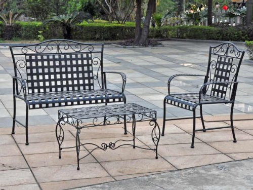 MANDALAY 3 PIECE IRON LOVESEAT SET - LOVESEAT,